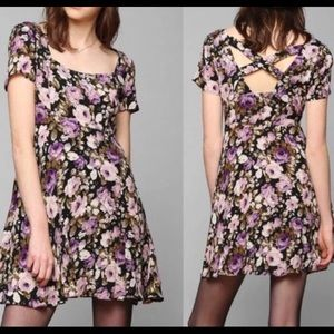Urban Outfitters purple floral criss cross dress